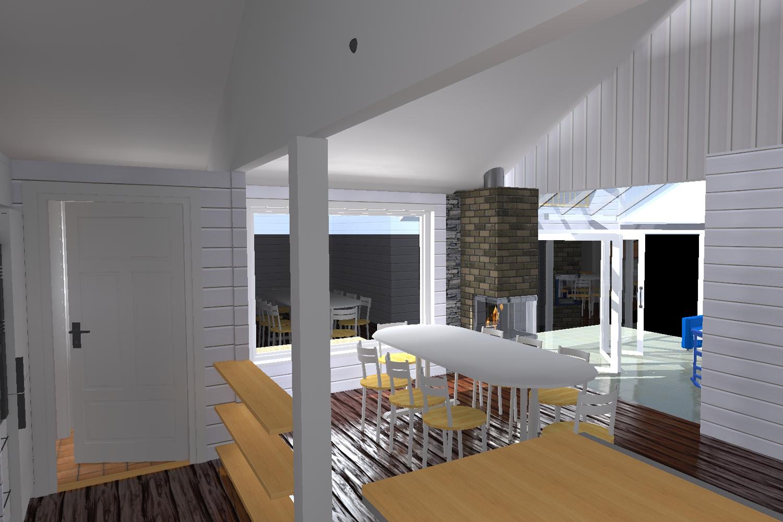 3D tegning av spise stue